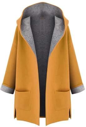 XQS Womens Open Front Hooded Winter Warm Wool Blend Outwear Pea Coat XXXL
