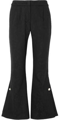 Mother of Pearl Louie Faux Pearl-embellished Organic Cotton And Wool-blend Jacquard Flared Pants - Black