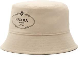 766c6c25925 Prada Logo Print Canvas Bucket Hat - Mens - Cream