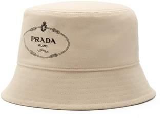 Prada Logo Print Canvas Bucket Hat - Mens - Cream