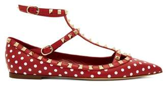 Valentino Rockstud T Bar Leather Flats - Womens - Red White