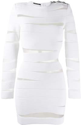 Balmain sheer panels short dress