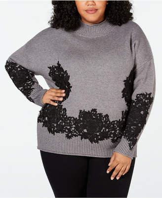 Belldini Black Label Plus Size Lace-Applique Sweater