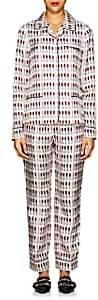 Prada Women's Lipstick-Print Silk Pajama Set - White