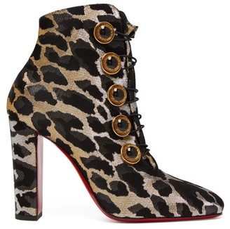 Christian Louboutin Lady See 85 Leopard Lurex Ankle Boots - Womens - Leopard