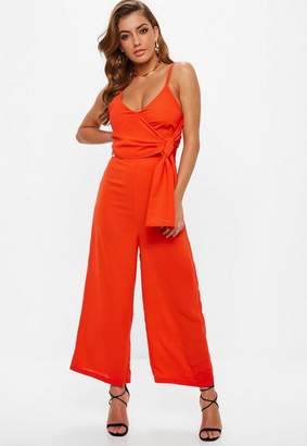 Missguided Orange Tie Side Culotte Romper