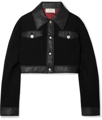 Sara Battaglia Cropped Faux Leather-trimmed Wool-crepe Jacket - Black