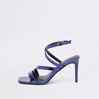 River Island Purple patent asymmetric strappy sandals