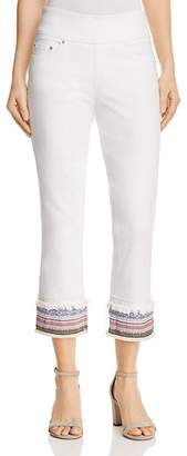 Jag Jeans Peri Embroidered Cuff Straight Ankle Jeans in White