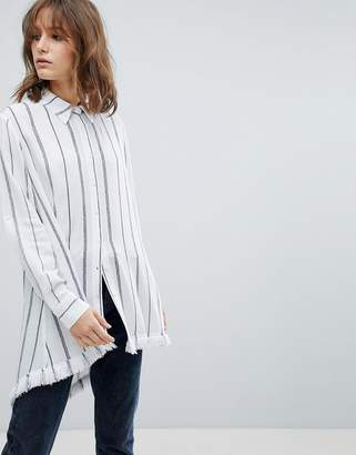 Current Air Stripe Tunic Shirt with Raw Finish