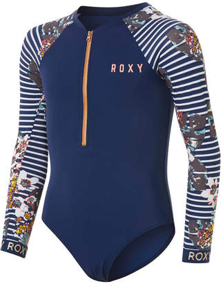 Roxy Girls Fitness Long Sleeved Zipped Printed Swimsuits