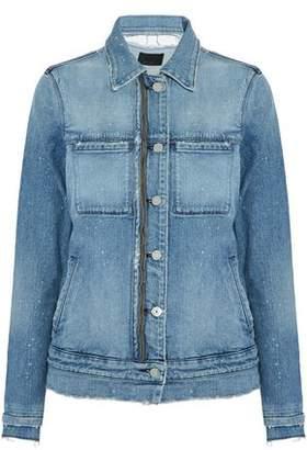 RtA Distressed Zip-Detailed Denim Jacket