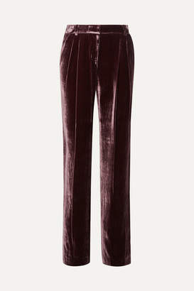 MICHAEL Michael Kors Pleated Velvet Straight-leg Pants