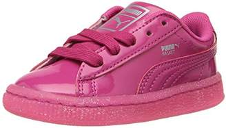 Puma Girls' Basket Patent Iced Glitter Inf Running Shoe