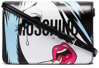 Moschino Black cartoon face leather cross body bag