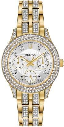 Bulova Women's Goldtone Swarovski Crystal Subdial Watch