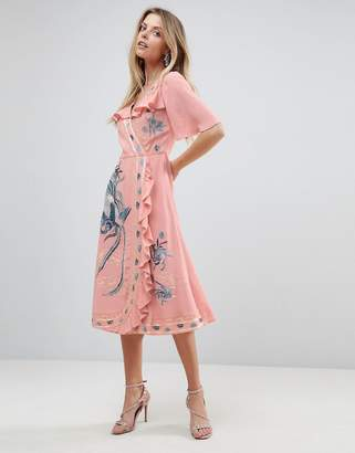 Asos DESIGN PREMIUM Embroidered Ruffle Wrap Midi dress