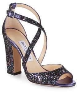 Jimmy Choo Carrie Glitter Block Heels