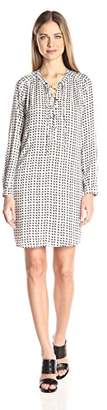 Velvet by Graham & Spencer Women's Printed Challis Laceup Dress
