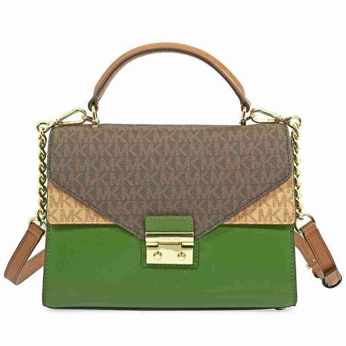 Michael Kors Sloan Medium Leather Satchel- Brown/Acorn/True Green - TRGR/BRCR - STYLE