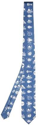 Prada Whale Print Silk Twill Tie - Mens - Light Blue