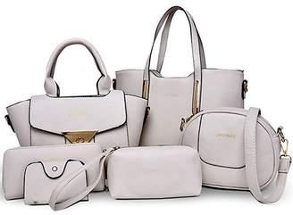 Donaword Women 6 Pieces Muti-purpose Bag in Bag Purse PUeather Handbag Set Bue