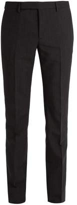 Saint Laurent - Slim Leg Pinstripe Wool Blend Suit Trousers - Mens - Black Multi