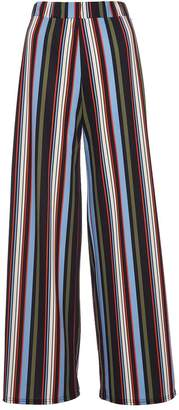 Quiz Olivia's Black Green And Blue Stripe Palazzo Trousers