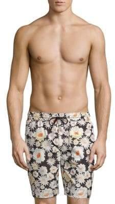 Burberry Daisy Scribble Print Drawstring Swim Shorts