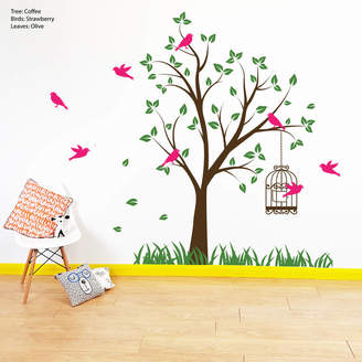 588106a2de POM GIFTS Tree With Bird Cage Wall Stickers