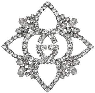 Gucci Crystal Interlocking G flower brooch