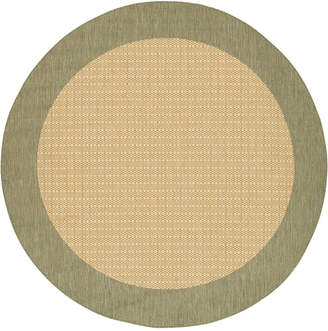 """Couristan Closeout! Area Rug, Recife Indoor/Outdoor 1005/5005 Checkered Field Natural-Green 7' 6"""" Round"""