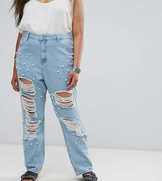 Alice & You Distressed Boyfriend Jean With Pearl Embellishment