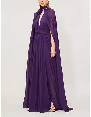 Dundas Silk-crepe gown and cape