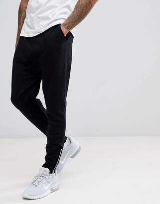 Asos Drop Crotch Joggers With Zip Cuffs In Black