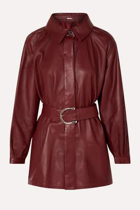 Dodo Bar Or Belted Leather Shirt - Burgundy