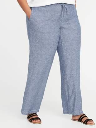 Old Navy Mid-Rise Plus-Size Linen-Blend Wide-Leg Pants
