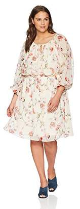 Adrianna Papell Women's Size Plus BONTIA Oasis Peasant Dress