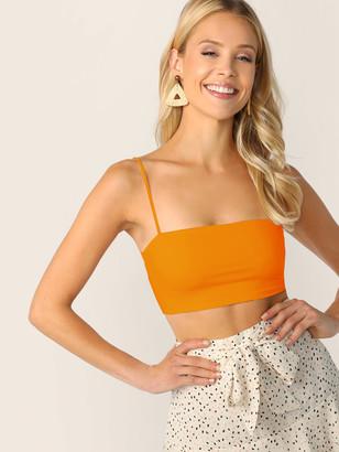 Shein Neon Orange Slim Crop Cami Top