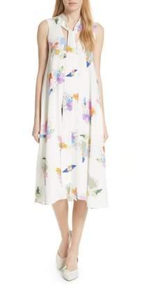 Tibi Camellia Print Silk A-Line Dress
