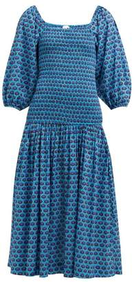 Rhode Resort Harper Abstract Print Cotton Midi Dress - Womens - Blue