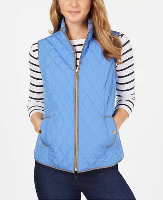 Charter Club Petite Quilted Mock-Neck Vest