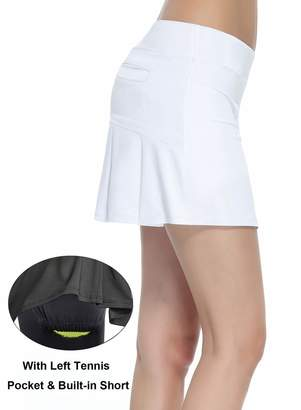 HonourSex Women's Workout Active Skorts Sports Tennis Golf Skirt with Built-in Shorts Size S