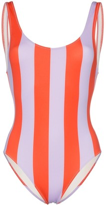 Solid & Striped round neck wide striped swimsuit