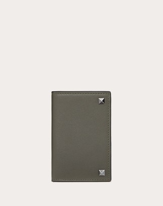 Valentino Garavani Uomo Rockstud Cardholder Man Black Calfskin 100% OneSize