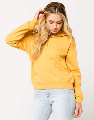 Full Tilt Quarter Zip Oversized Mustard Womens Hoodie