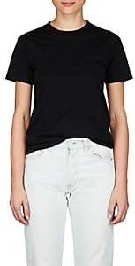Balenciaga Women's Logo-Embroidered Cotton Jersey T-Shirt - Black