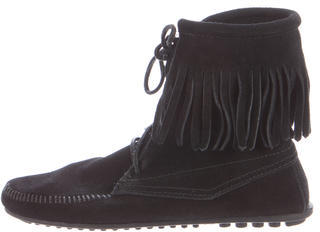 Minnetonka Fringe Ankle Boots $65 thestylecure.com