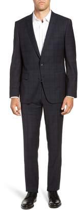 BOSS Huge/Genius Trim Fit Stretch Plaid Wool Suit