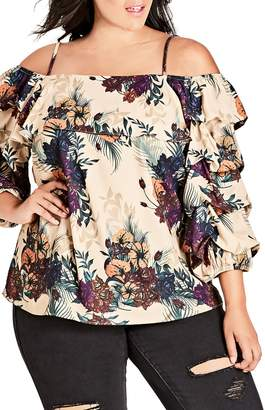 City Chic Top Secret Jungle Print Blouse